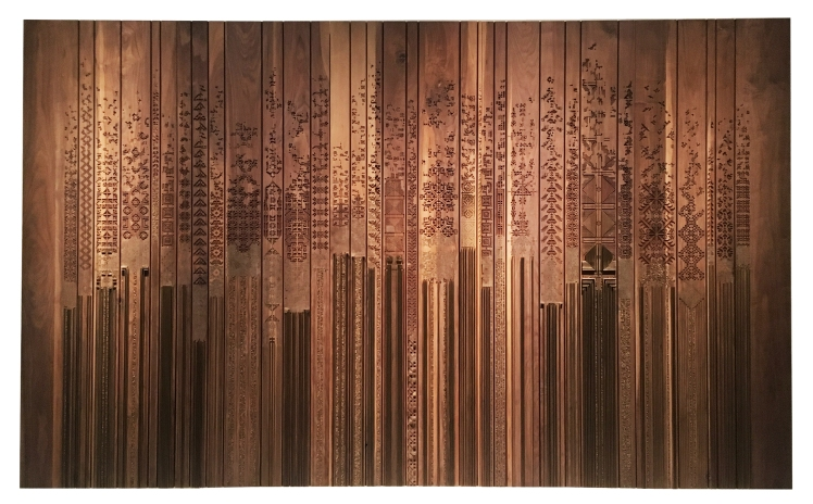 naqsh collective, Shawl, 2015, walnut wood, paint and brass