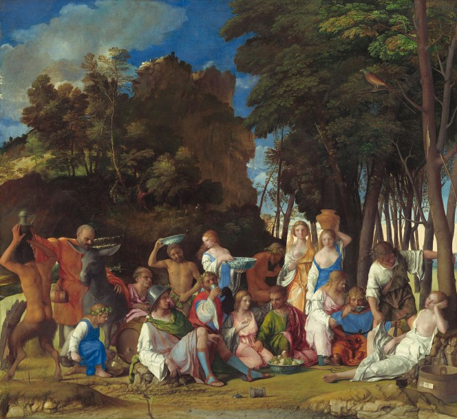 Giovanni Bellini, with later additions by Dosso Dossi and Titian, The Feast of the Gods, 1514–29, Image courtesy of the Board of Trustees, National Gallery of Art, Washington, DC.