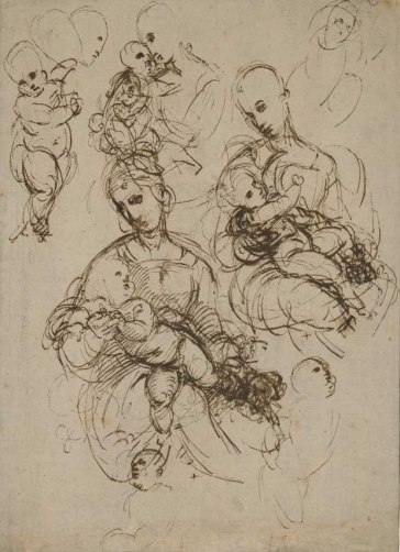 Raphael, Studies for a Virgin and Child in her arms Pen and brown ink, over traces of red chalk, 1506-1507 (circa) © The Trustees of the British Museum